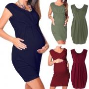 Moderne Mouwloze Zwangerschapsjurk met Ronde Hals Effen Kleur en Hoge Taille