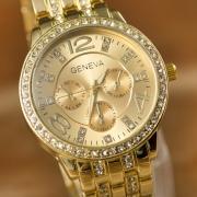 Genève Aluminium Horloge Band Bergkristal Rond Wijzers Kwarts Horloges