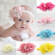 13 Kleuren Lief 3D Bloemen Parels Chiffon Baby Hoofdband