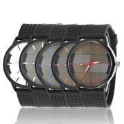 Modern Zwart Armband Ronde Wijzerplaat Herenkwartshorloge