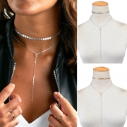 Modern Eenvoudig Bergkristal Pailletten Kwastjes Hanger Halsbandketting