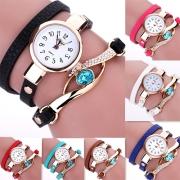 Modern Meerdere Lagen Lederen Armband Ronde Wijzerplaat Horloge