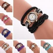 Modern Bergkristal Meerdere Lagen Armband Ronde Wijzerplaat Horloge