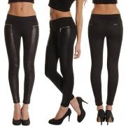 Mode PU Leer Gesplitst Hoge Taille Slanke Pasvorm Leggings
