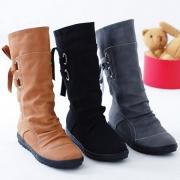 Modern Effen Kleur Platte Hakken Ronde Neuzen Bandjes Boots
