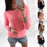 Moderne Sweater met Effen Kleur Lange Mouwen Ronde Hals en Kralen