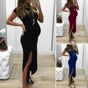 Sexy Zwangerschaps Jurk met Split Korte Mouwen Ronde Hals en Effen Kleur