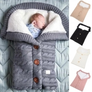 Moderne Gebreide Slaapzak voor Baby's met Effen Kleur en Pluchen Voering