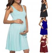 Modern Mouwloos Zwangerschapsjurk met Effen Kleur en Hoge Taille