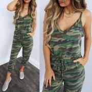 Sexy Jumpsuit met Vrije Rug V-hals Camouflagepatroon en Dragers