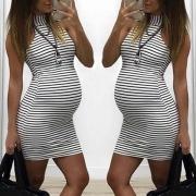 Modern Mouwloos Gestreept Zwangerschapsjurk