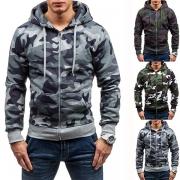 Moderne Hoodie voor Heren met Camouflagepatroon Capuchon en Lange Mouwen