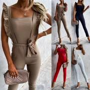 Sexy Jumpsuit met Vrije Rug Vierkante Kraag Hoge Taille Slanke Pasvorm en Dragers