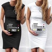 Moderne Mouwloze Zwangerschaps-T-shirtjurk met Ronde Hals en Tekstprint
