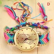 Etnische Stijl Kleurrijke Gevlochten Armbandband Ronde Wijzerplaat Kwarts Horloge