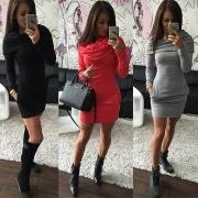 Mode Eenkleurig Long Mouw Monnikspij Nek Jurk