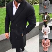Moderne Wollen Jas voor Heren met Effen Kleur Lange Mouwen en Twee Knoppenlijsten