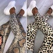 Moderne Rekbare Legging met Hoge Taille en Luipaard / Slangenlederpatroon