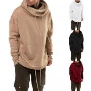 Modern Hoodie voor Heren met Effen Kleur en Lange Mouwen