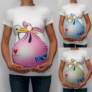 T-shirt met Schattig Cartoonmotief met Korte Mouwen en Ronde Hals voor tijdens de Zwangerschap