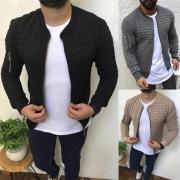 Moderne Vest voor Heren met Effen Kleur Lange Mouwen en Opstaande Kraag
