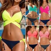 Sexy Contrast Kleur Gekruist Halter Bikini Set