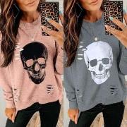 Trendy Gescheurd Sweatshirt met Onregelmatige Zoom Doodshoofdmotief en Lange Mouwen