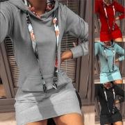 Modieus Lange Sweatshirt met bedrukt Design Lange Mouwen Slanke Pasvorm en Capuchon