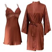 Sexy Zijden Tweedelige Nachtkledingset met Kanten Design in Effen Kleur bestaande uit een Nachtjapon met Vrije Rug V-hals en Bandjes + Badjas