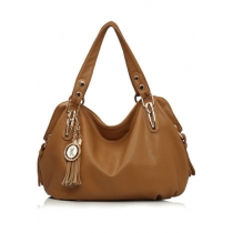 Elegant Solid Color Fringed Pendant Handbag Shoulder Bag