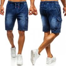 Moderne Knielange Shorts voor Heren met Elastische Taille