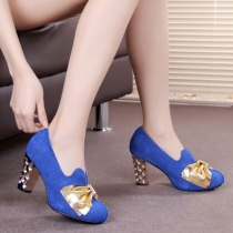 Contrast Color Bowknot High Block Heel Platform Pump
