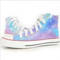 Fashion Hand-drawn Gradient Colour Canvas High Shoes