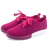 Sweet Leisure Lace-up Front Candy Color Shoes