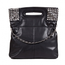 Punk Style Rivet Pure Color Handbag Shoulder Bag