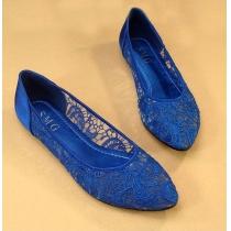 Elegant Retro Solid Color Floral Crochet Lace Flats Shoes