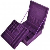 Purple two-layer lint jewelry box / organizer / display storage case with lock plus KLOUD cleaning cloth