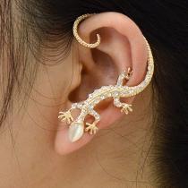 Chic Rose Gold Rhinestone Lizard Ear Cuff Clip On Earring