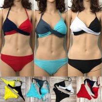 Sexy Bikiniset met Contrasterende Kleuren`en Dragers