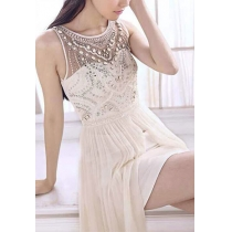 Bridesmaid Sequin Beaded Embellished Asymmetric White Maxi Evening Dress