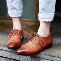 British Perforated Lace-up Pointed Toe Flat Oxford Shoes