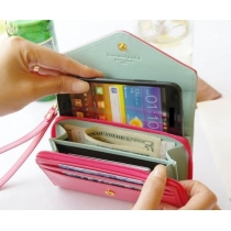 Felgekleurd Multifunctioneel Enveloptas Hoesje Samsung Galaxy S3 S4 iPhone 4/4S/5/5S Portefeuille met Telefoonhoesje