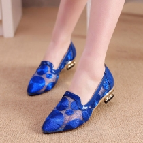 Low Heel Embroidery Lace Point Toe Slip On Loafers