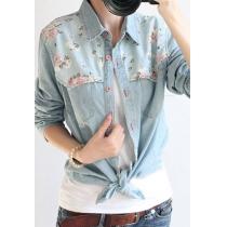 Retro Floral Print Spliced Denim Shirt Blouse
