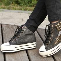 Metallic Rivets High Top Concealed Heel Platform Sneaker