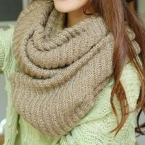 Laatste Dames Warm Ontspannen Eenvoudig Pure Kleur Gebreid Oneindigheid Sjaal