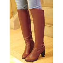 Knight Style Strap Solid Color High-heeled Over-the-knee Boots