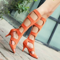 Peep Toe Cut Out Stiletto Heel Gladiator Sandal Boot