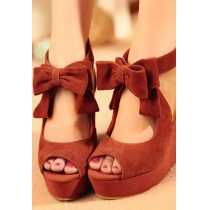 Sweet Bowknot Peep-toe Wedge High-heeled Shoes