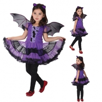 Purple Bat Dress Kids Cosplay Performance Clothing Halloween Costume